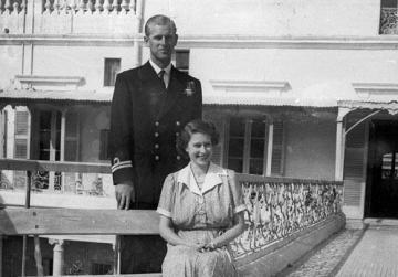 Princess Elizabeth and Prince Philip at the villa in 1949.