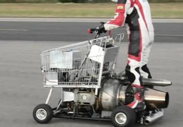 Jet-powered shopping trolley and motorised toilet take to the track