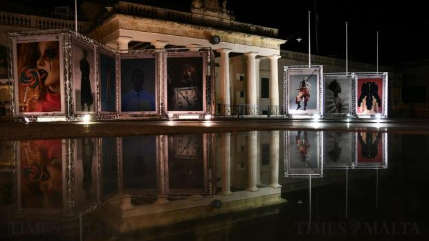 St George's Square in Valletta is adorned with fashion photography on May 21, ahead of the start of this year's Malta Fashion Week. The showcase, now in its seventh edition, features a number of renowned Maltese and international designers. Photo: Jonathan Borg