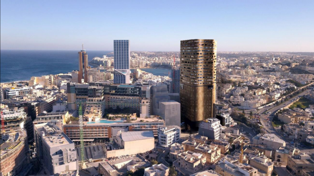 Photomontage of the proposed 25-storey tower, with Mercury House (under construction) and the Portomaso tower in the background.