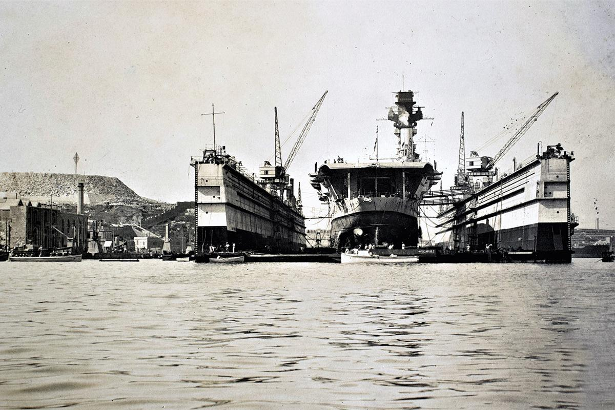 The aircraft carrier HMS Hermes in the floating dock, the Dockyard, 1930s. Photo: Giovanni Attard Rigaud