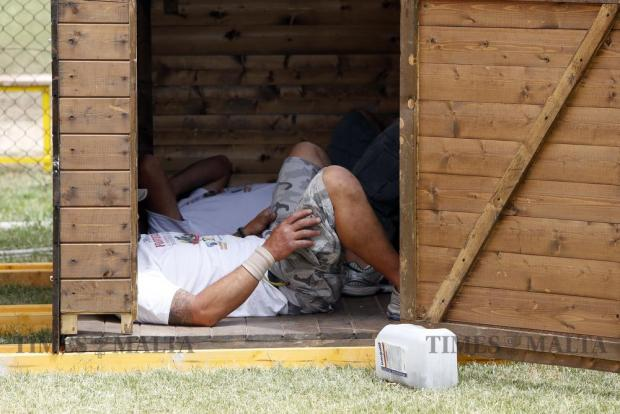 Volunteers rest in a hut during the Puttinu Cares annual fund raising sports marathon at the Marsa sports grounds on May 29. Photo: Darrin Zammit Lupi