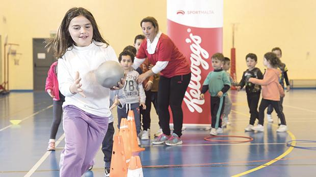 Children having fun during a session led by instructor Rosianne Buhagiar at Kirkop sports complex.
