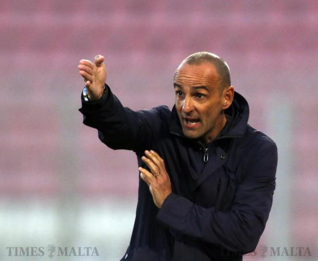 Birkirkara's new coach Drazen Besek delivers instructions to his players during their Premier League football match against Qormi at the National Stadium in Ta' Qali on January 10. Photo: Darrin Zammit Lupi