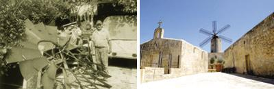 Carmelo Hili at his private museum in Xaghra, Gozo. Picture lifted from the magazine. Right: The Xarolla Windmill in Zurrieq. Picture: Chris Sant Fournier