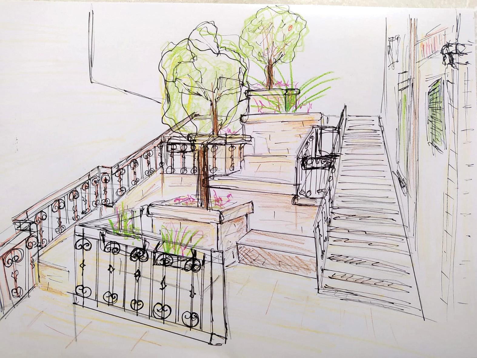 Interior designer Caroline Ciantar-Barbara's envisioned sketch for the neglected stairs.