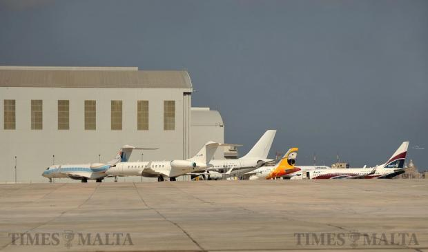 Aircraft are parked around the Lufthansa Technik hangar at Malta International Airport on September 14. Photo: Chris Sant Fournier