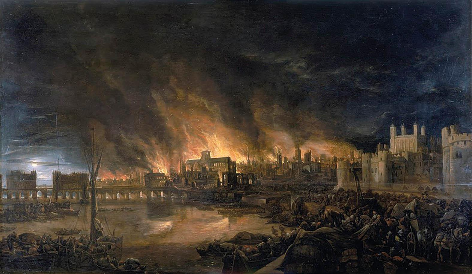 The Great Fire of London depicted by an unknown painter (1675) with Old St Paul's in the centre.