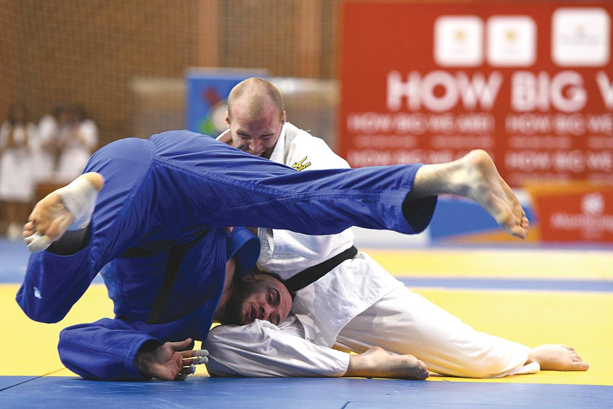 The moment Malta's judoka Isaac Bezzina misses out on a medal in the final seconds of his fight against Por Davidsson of Iceland at the Small Nations Games in Montenegro on May 28. Photo: Matthew Mirabelli