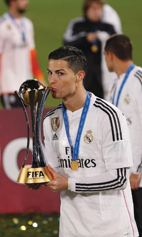 Cristiano Ronaldo holding the Club World Cup trophy in Morocco, on Saturday.