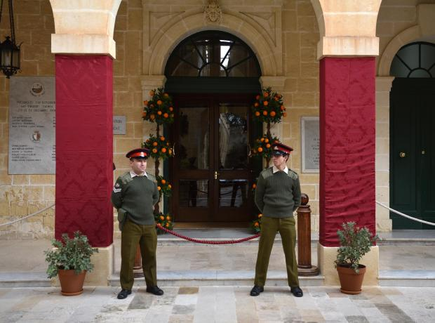 Two Armed Forces officers guard the entrance to the President's Residence at San Anton Gardens during the citrus fest on January 14. Photo: Mark Zammit Cordina