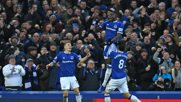 Everton's Kurt Zouma celebrates his goal against Bournemouth with Andre Gomes and Lucas Digne.