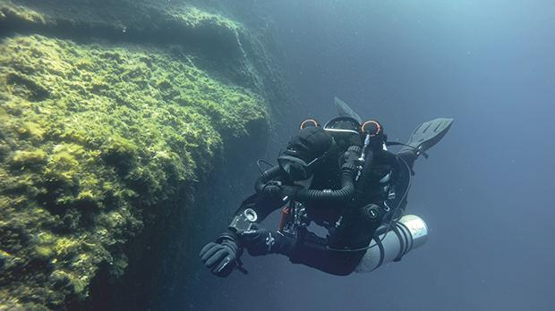 The author diving a rebreather in waters off the north coast of Gozo. Photo:Joseph Caruana
