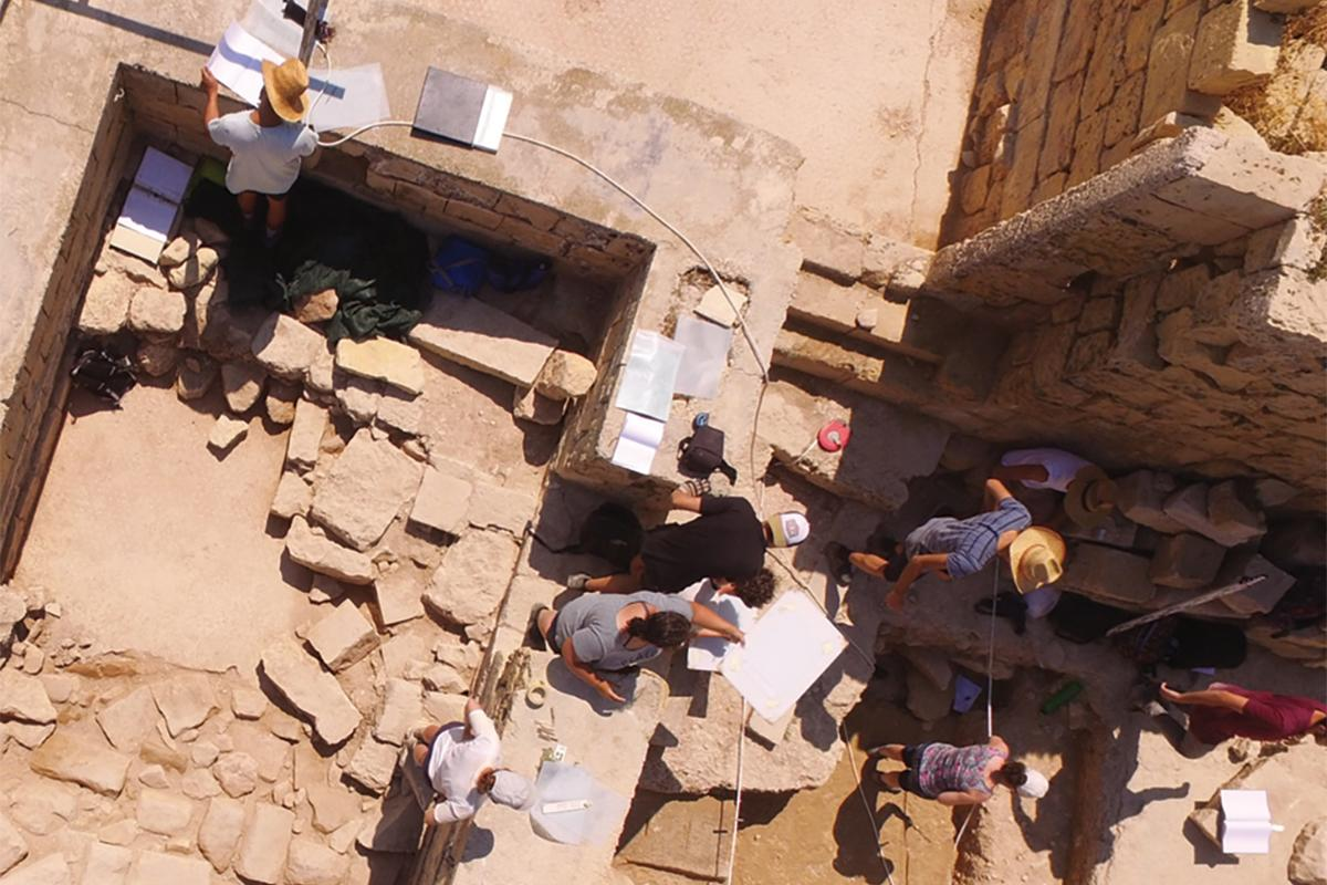 Students on site during excavation works.