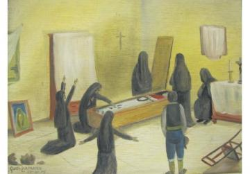 Illustration by Guido Lanfranco of newwieħa hired for household mourning.