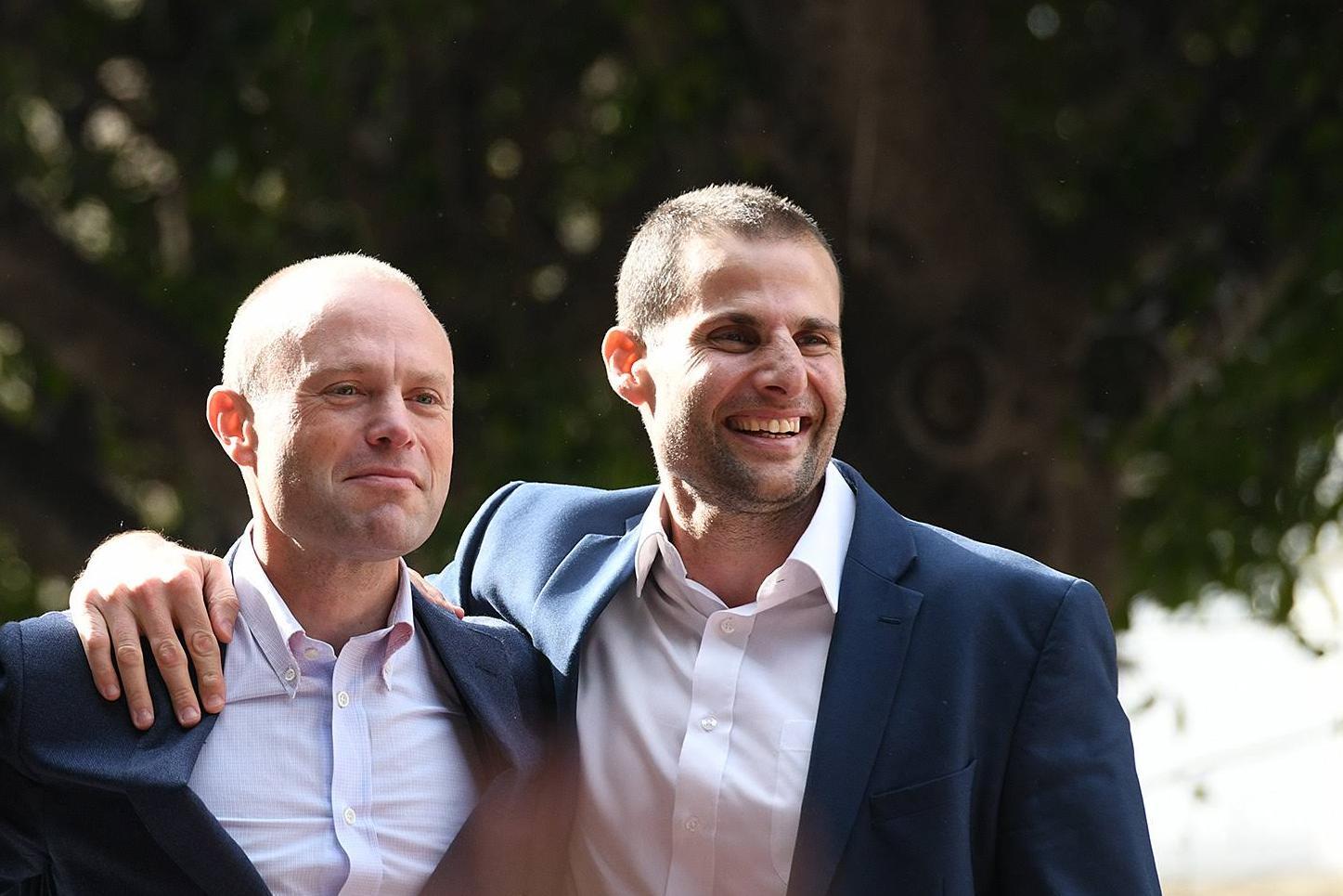 "Grech accused Robert Abela (right) of basing his economic plans on ""Muscatonomics"", after his predecessor Joseph Muscat (left). Photo: Matthew Mirabelli"