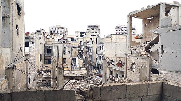 A war-destroyed neighbourhood in Homs.