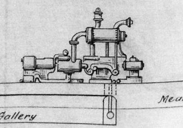 Drawing illustrating a typical pump which would have been used in conjunction with the boilers.