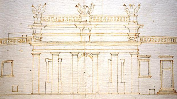 Phase 1 of the Main Guard. Giorgio Pullicino (?), the portico with three trophy finials, but without the inscription or the Royal Arms. Private Collection, Malta.