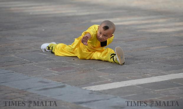 The world-famous Shaolin monks display their skills during a performance at the Pjazza Teatru Rjal in Valletta to celebrate the Chinese New Year on January 21. Photo: Matthew Mirabelli