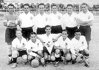 St George`s forward Nenu Scerri (front row, first on left) with the Malta FA XI before the Christmas Tourney match against Rigas, of Latvia, played on January 8, 1939.
