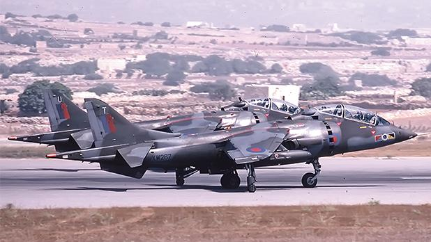 Two Hawker Siddeley Harrier T.4s from 233 OCU taking off from runway 06
