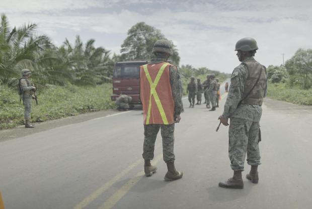 A military check-point on the road to Mataje.