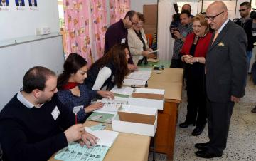 President Marie Louise Coleiro Preca and her husband Edgar vote in Lija. Photo: Jeremy Wonnacott, DOI