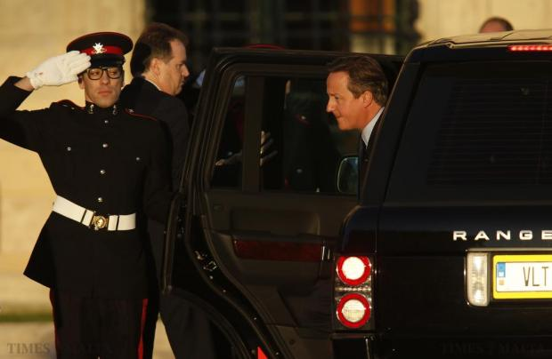 British Prime Minister David Cameron arrives at the office of Malta's Prime Minister Joseph Muscat for the start of the Valletta Summit on Migration in Valletta on November 11. Photo: Darrin Zammit Lupi