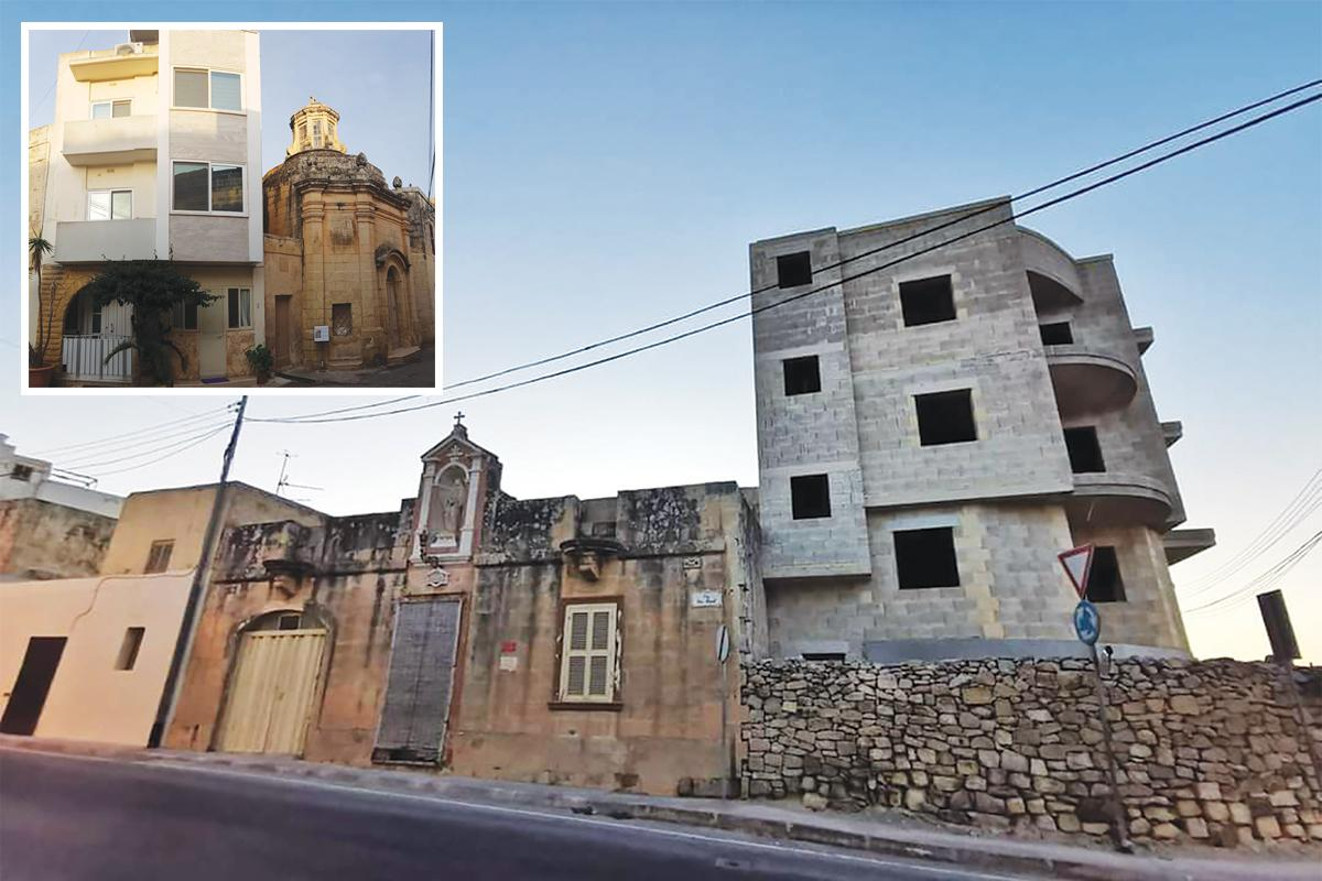 A development in Safi towers over its neighbour. Inset: another example of heritage being dwarfed.