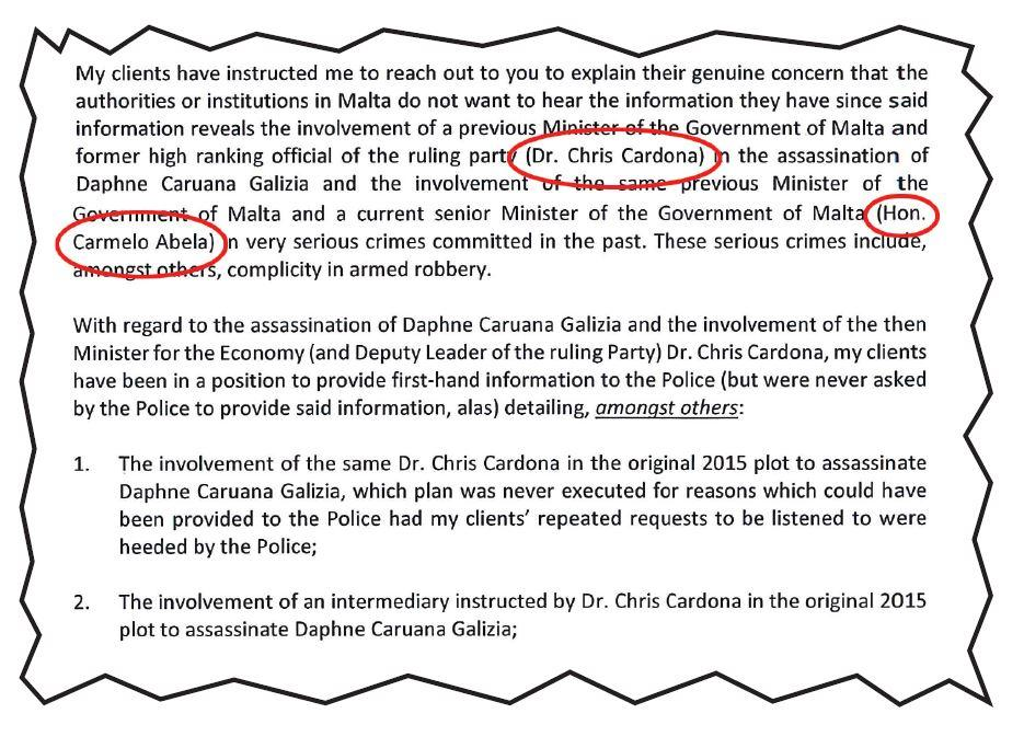 An excerpt of the letter from the lawyer of Alfred and George Degiorgio. Names highlighted by Times of Malta.