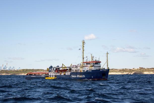 So near, so far. The Sea Watch sheltering off Malta.