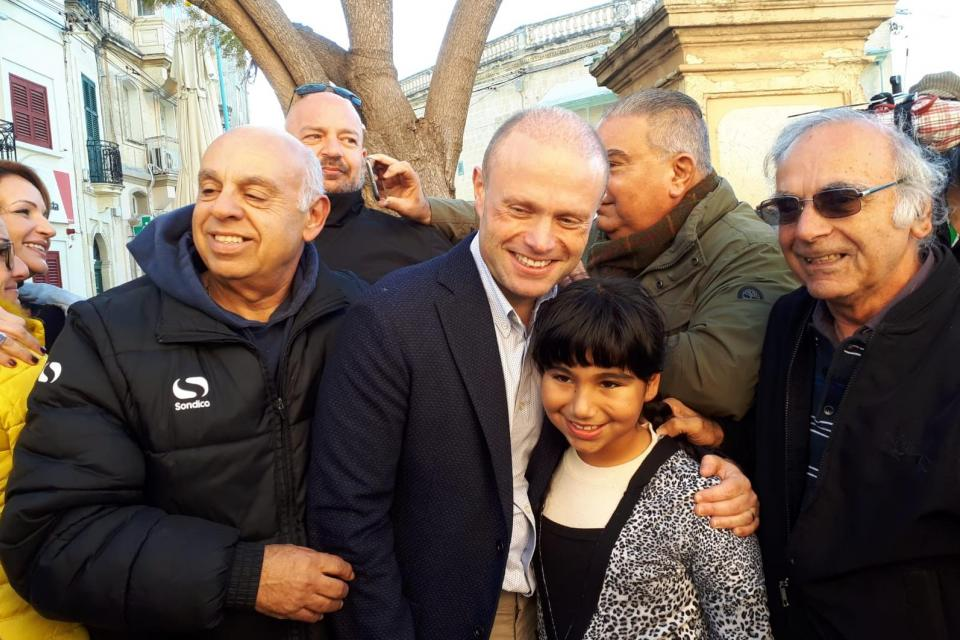 Joseph Muscat greeted by PL supporters in Naxxar.
