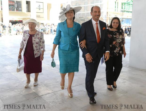 Marlene Farrugia and her husband Godfrey Farrugia, both elected as members of parliament make their way to the opening of Malta's 13th Parliament on June 24. Photo: Matthew Mirabelli