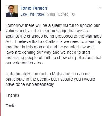 Former PN minister Tonio Fenech was quick to back tomorrow's silent protest. Photo: Facebook/Tonio Fenech