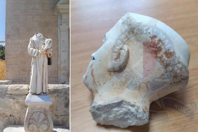 Head of vandalised statue found in teenagers' home