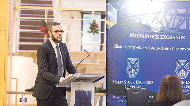 Jordan Portelli, investment manager at Calamatta Cuschieri, delivering his presentation at the MSE educational seminar.