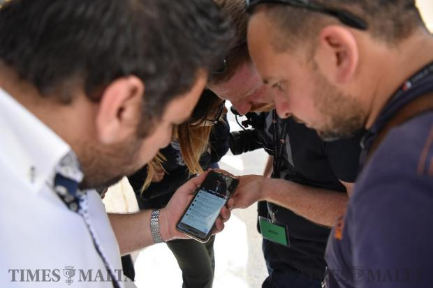 Journalists watch and listen to a political debate held at the University of Malta on May 17. Photo: Mark Zammit Cordina