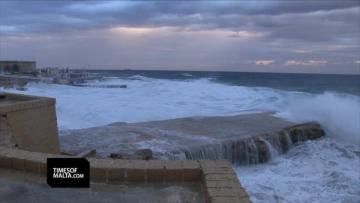 Sliema's coastline was also hit by inclement weather. Video: Steve Zammit Lupi