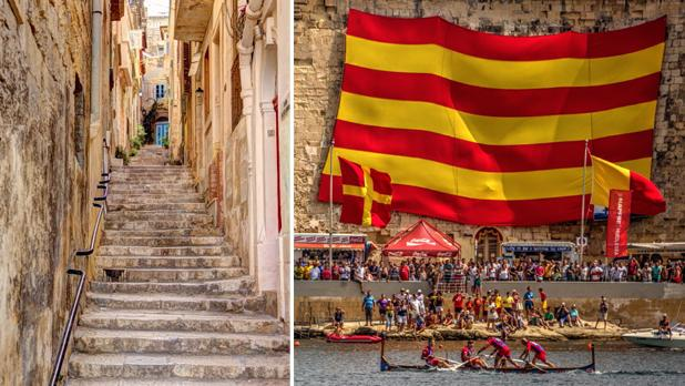Alley in Cospicua. Right: Victory Day Regatta at Grand Harbour on September 8. Photos: Ernest Spiteri Gonzi