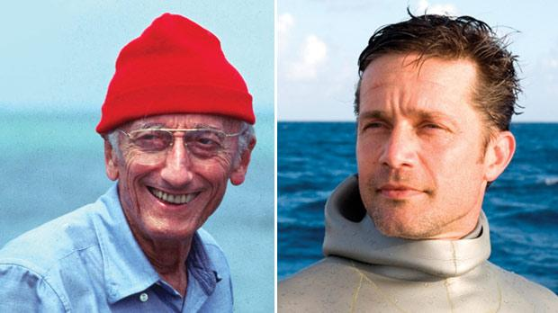 Jacques Cousteau. Right: Fabien is pictured on his first dive outside the marine laboratory.