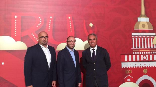 The Malta FA delegation at the draws: Malta's representatives at the draw (from left) Ivan Vella, the national teams manager, national coach Pietro Ghedin and Bjorn Vassallo, the Malta FA general secretary.
