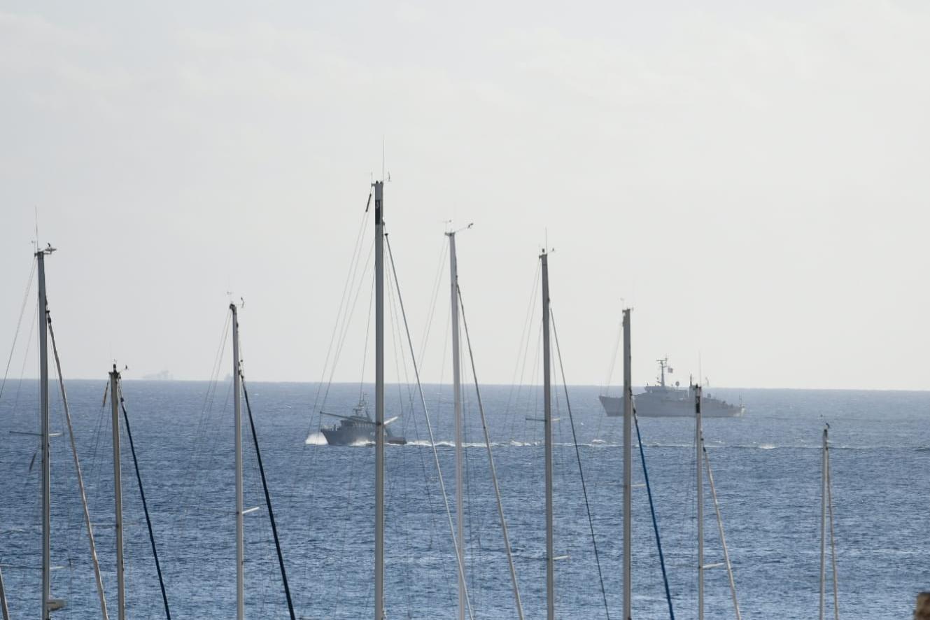 AFM patrol boats off Portomosa on Wednesday morning. Photo: Jonathan Borg