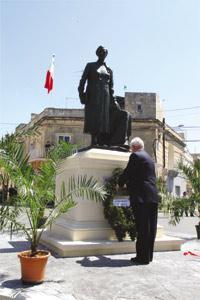 President Eddie Fenech Adami laying a wreath at the foot of Agatha Barbara`s monument.