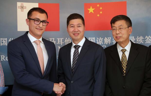 Dr Schembri (left) with Huawei company representatives. Photo: DOI/Omar Camilleri