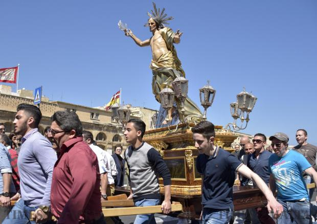 The statue of the Risen Christ is carried in a procession in Cospicua on 27 March Photo: Mark Zammit Cordina