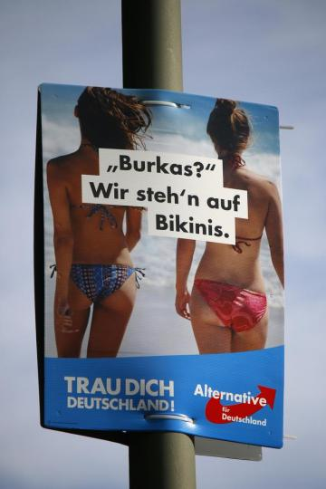 An AfD election poster - one of several which played on anti-Islamic fears. Photo: Shutterstock