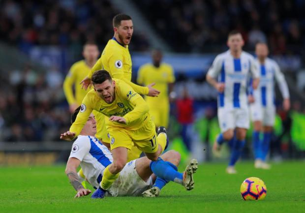 Mateo Kovacic is fouled during Sunday's match against Brighton.