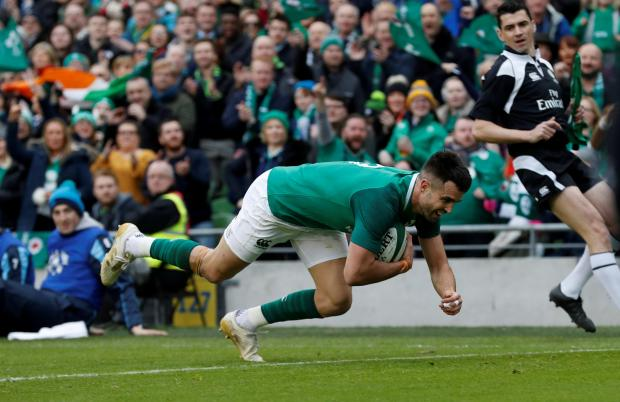 Ireland's Conor Murray scores their second try.
