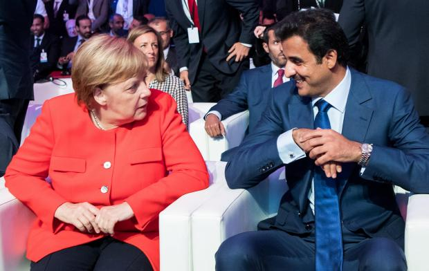 Chancellor Angela Merkel and the Emir of Qatar, Tamim bin Hamad bin Khalifa al Thani.